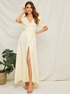 Surplice High Slit Front Wrap Satin Dress