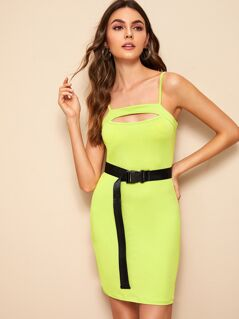 Neon Lime Peekaboo Cami Dress With Belt