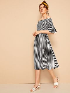 Shirred Flounce Sleeve Bardot Striped Dress