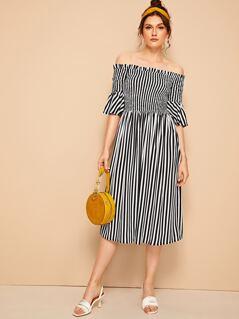 Shirred Flounce Sleeve Bardot Striped Dress