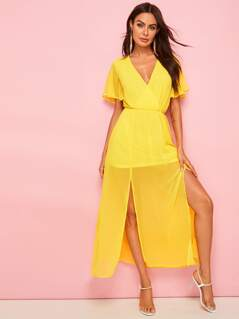 Flutter Sleeve Wrap Front M-slit Dress