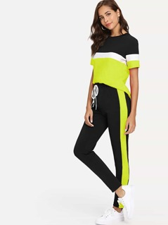 Neon Panel Colorblock Top and Knot Pants Set