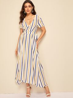 Surplice Wrap Striped Dress