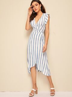 Striped Surplice Neck Knotted Dress With Wrap Skirt