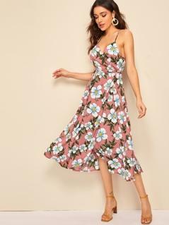 Flower Surplice Halter Neck Wrap Cami Dress