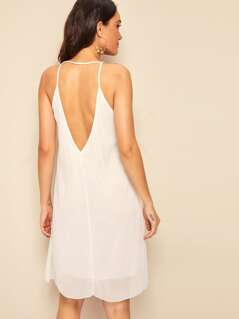 Solid Backless Slip Dress
