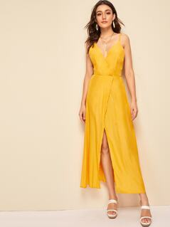 Surplice Neck Split Wrap Slip Dress