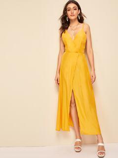 Surplice Neck Split Wrap Slip Dress