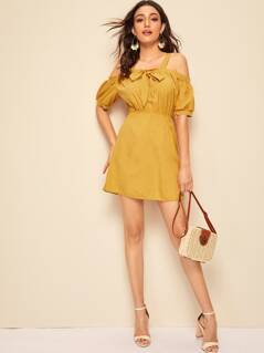 Cold Shoulder Bow Front Puff Sleeve Dress