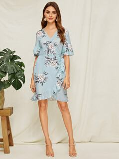 Layered Bell Sleeve Floral Wrap Dress