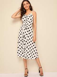Polka-dot Drawstring Front Slip Dress