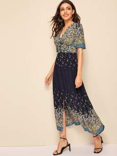 Plunging Ditsy Floral Print Button Through Dress