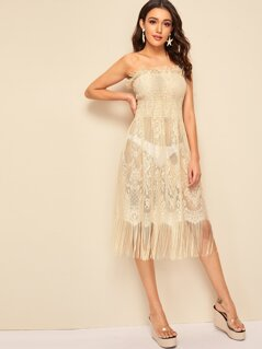 Shirred Bodice Fringe Trim Lace Tube Dress