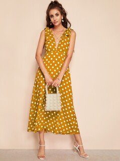 Self Tie Plunge Neck Polka Dot Dress