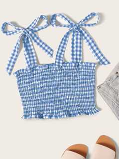 Tie Strap Frilled Gingham Shirred Top
