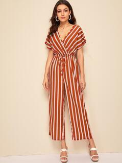 Wrap Surplice Tie Front Striped Jumpsuit