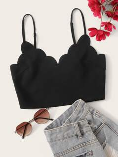 Scalloped Trim Crop Cami Top