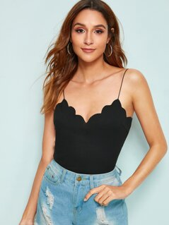 Scallop Trim Rib-knit Cami Top