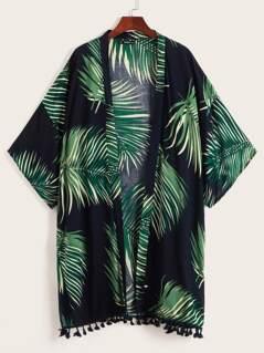 Palm Leaf Print Tassel Hem Kimono