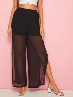Shorts Insert Split Wide Leg Pants