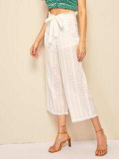 Belted Paperbag Waist Schiffy Culotte Pants