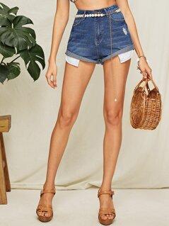 Bleach Wash Rolled Cuff Denim Shorts Without Belt