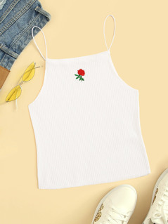 Rib-Knit Flower Embroidered Cami Top