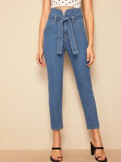 High Waist Self Belted Jeans