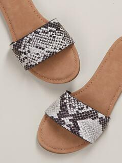 Snake Print Slip On Sandals