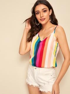 Double V-neck Rainbow Strap Cami Top