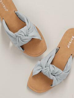 Denim Twist Front Open Toe Flat Slide Sandals