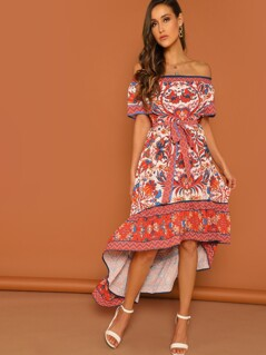 Aztec and Floral Print Off Shoulder Dip Hem Dress