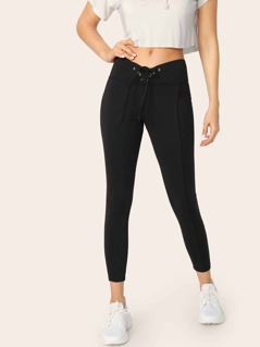 Lace-up Wide Band Waist Leggings