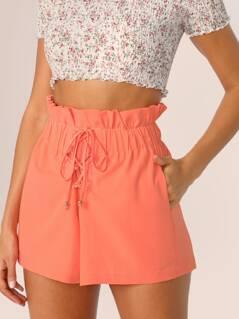 Paperbag Lace-up Waist Slant Pocket Shorts