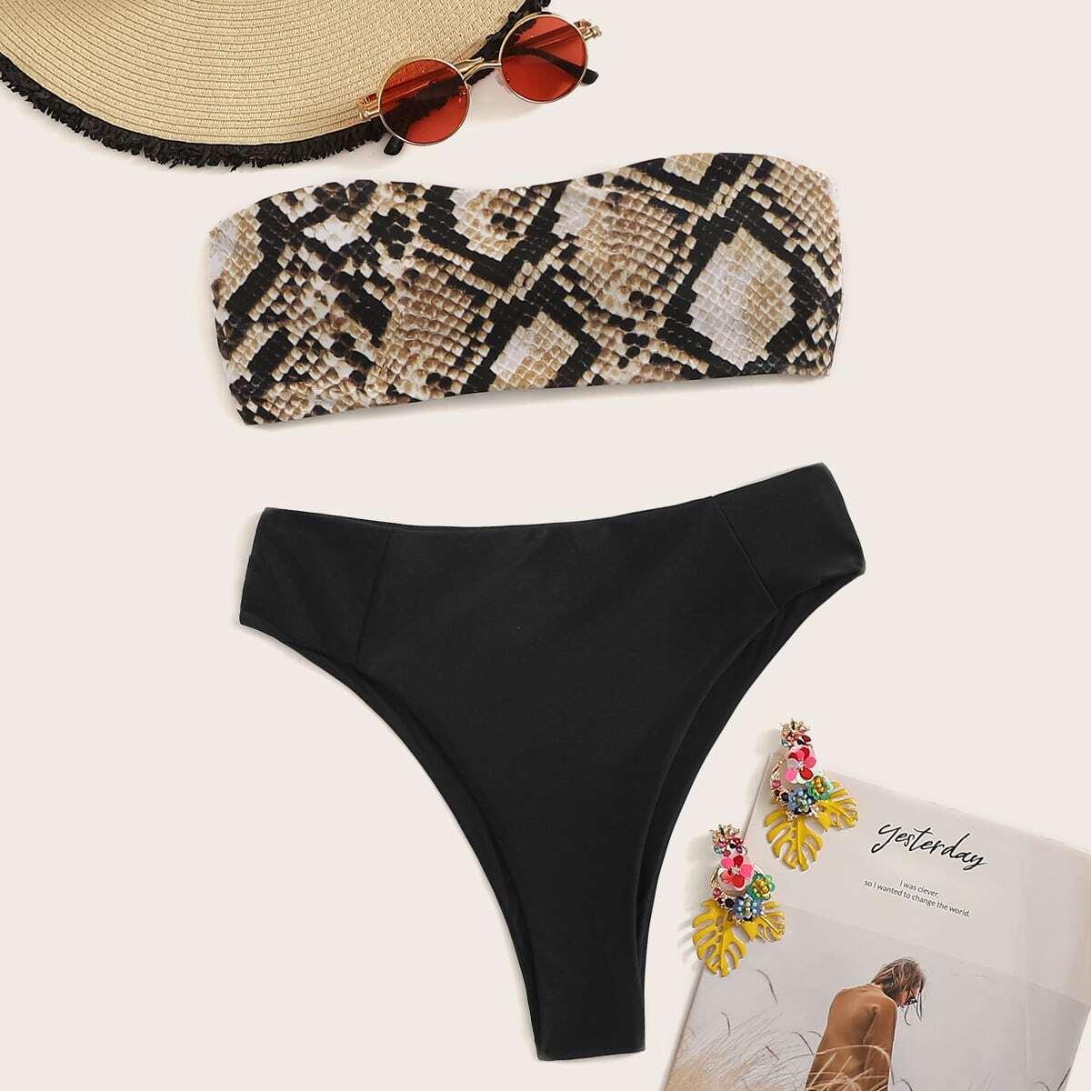 SHEIN / Set de bikini bandeau con estampado de piel de serpiente de cintura alta