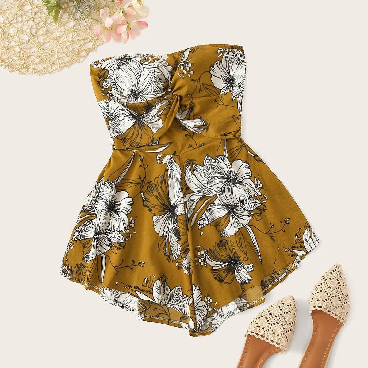 Комбинезон с цветочным принтом и драпировкой от SHEIN
