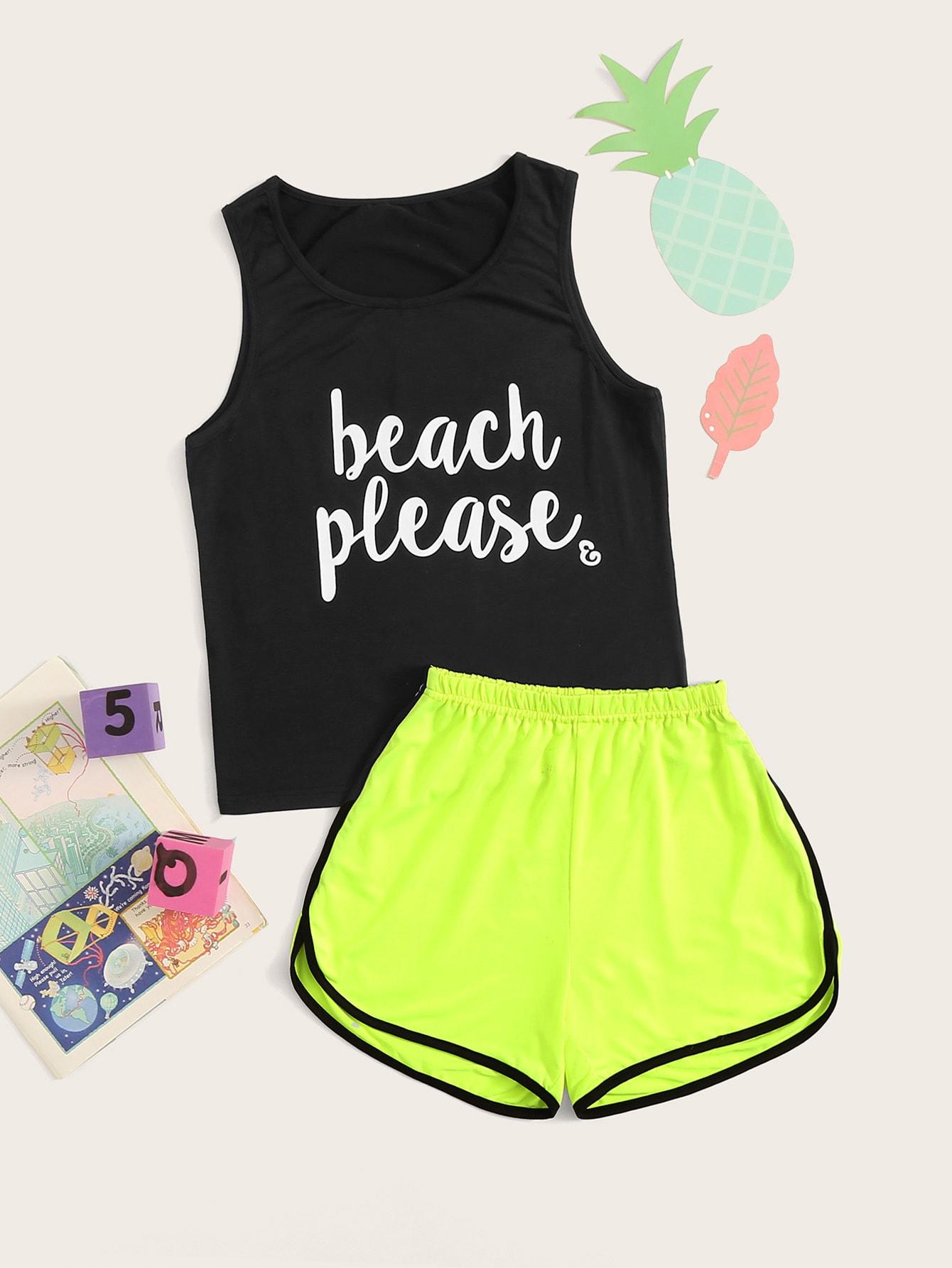 Текст многоцветный Домашняя одежда для девочек от SheIn