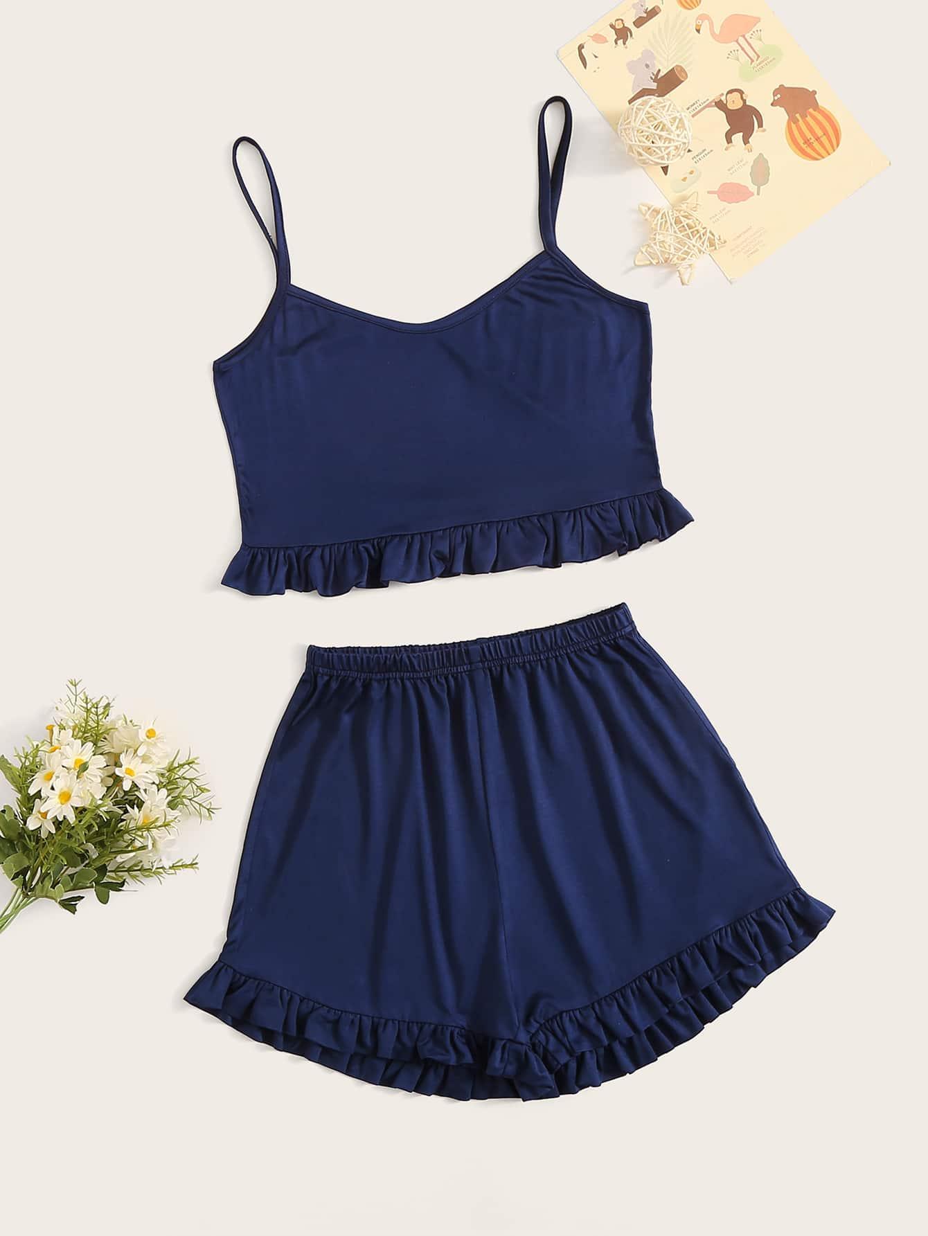 Одноцветный Оборка Тёмно-синие Домашняя одежда для девочек от SheIn