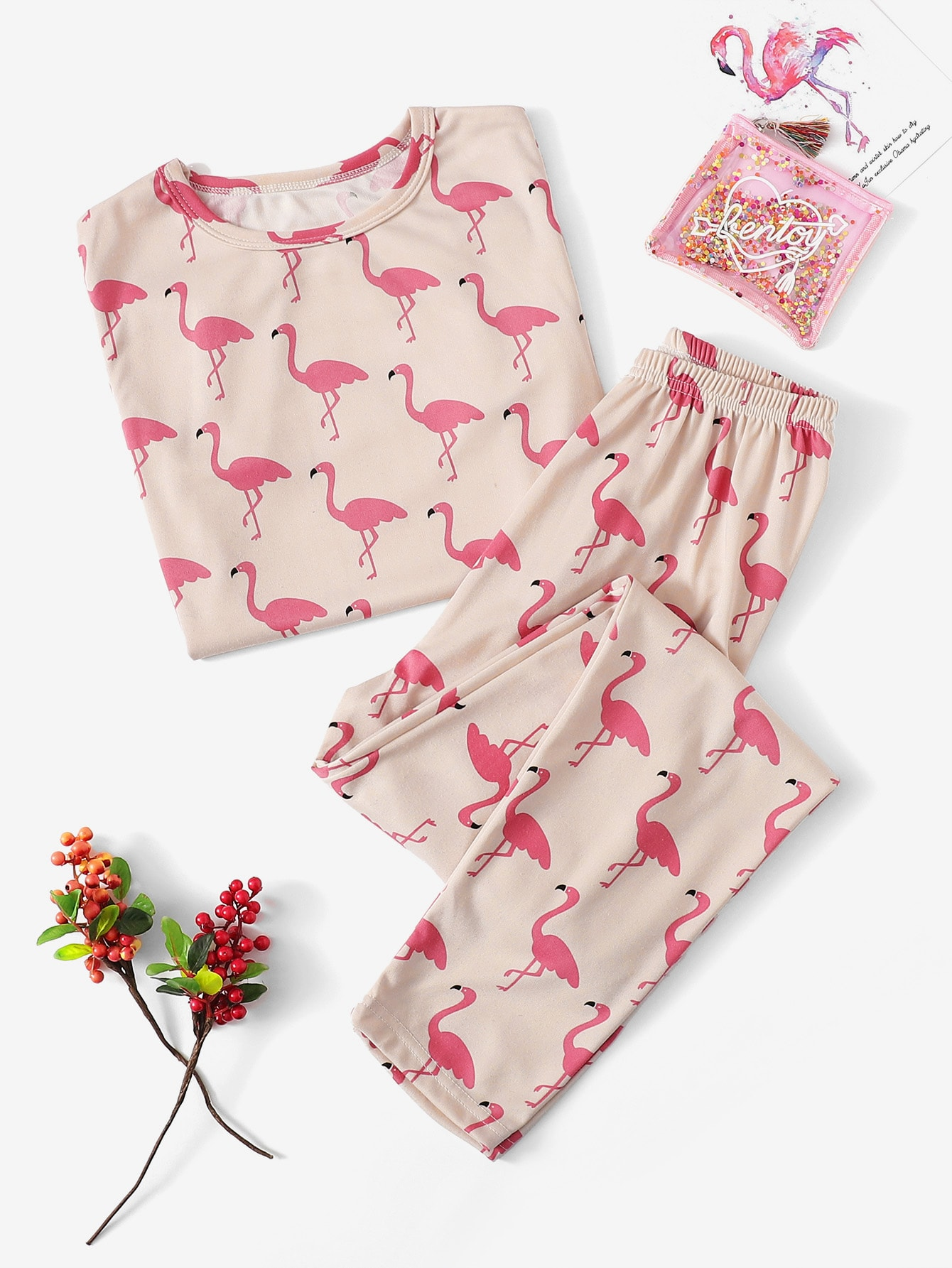 Животный принт Розовые Домашняя одежда для девочек от SheIn