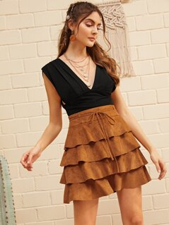Belted Layered Ruffle Suede Skirt
