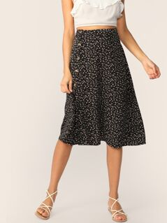 Button Front Ditsy Floral Print Skirt