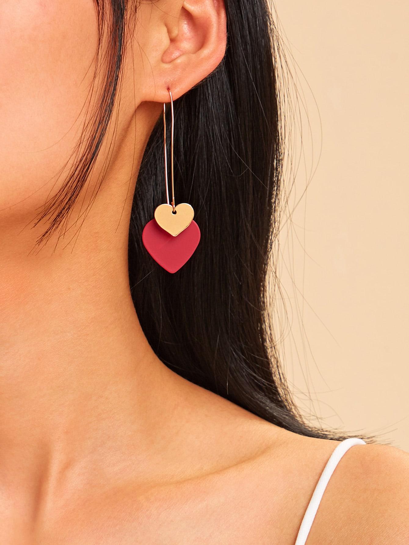 Фото - Серьги-подвески в форме двойного сердца 1 пара от SheIn цвет многоцветный