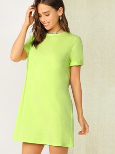 Neon Lime Cuff Sleeve Tee Dress