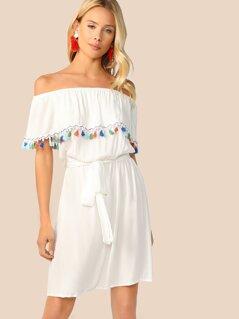 Off Shoulder Ruffle Tassel Trim Belted Dress