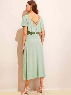 V-neck Ruffle Trim Crisscross Back Dress