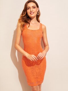 Split Hem Lace Overlay Tank Dress