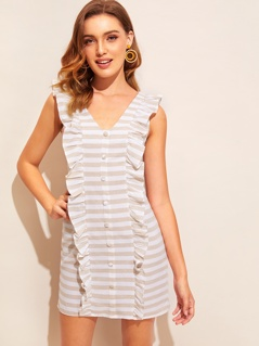 Ruffle Trim Button Front Striped Dress
