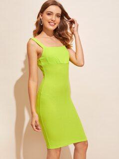 Neon Lime Rib-knit Bodycon Dress