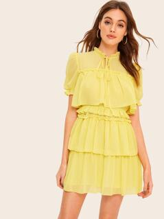 Tie Neck Frilled Trim Layered Ruffle Dress