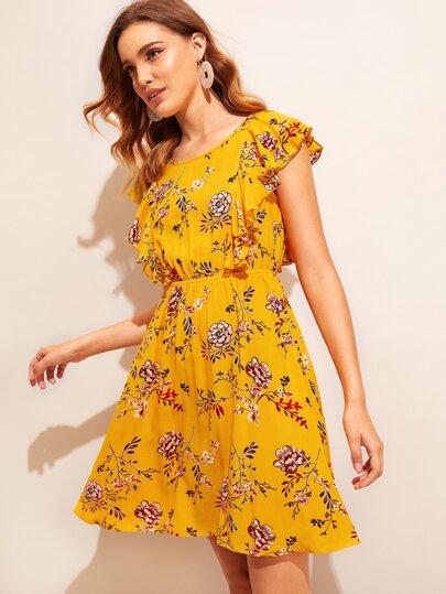 69a107ec9d Ruffle Trim Tied Open Back Floral Dress, Debora - shein.com - imall.com